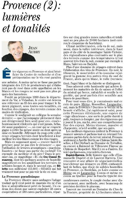 article de presse de jean aubry